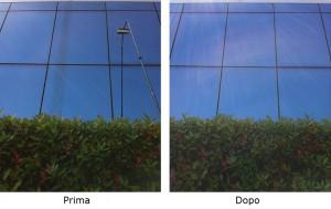 Prima e dopo lavaggio vetri con acqua deionizzata